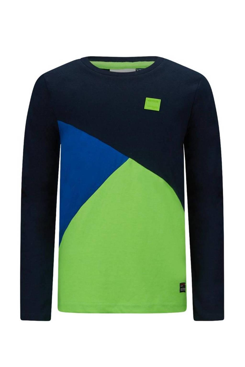Retour Denim longsleeve Torsten donkerblauw/neon groen/blauw, Donkerblauw/neon groen/blauw