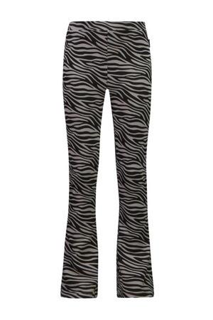 flared broek Bouskoura met zebraprint zwart