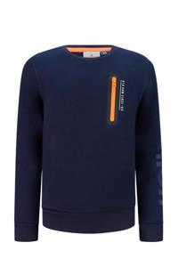 Retour Denim sweater Leif met printopdruk donkerblauw, Donkerblauw