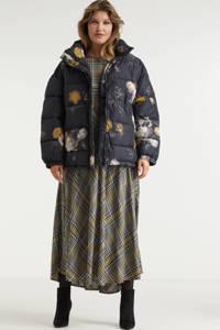 Miljuschka by Wehkamp limited edition gewatteerde jas met bloemenprint geel, Zwart / Geel
