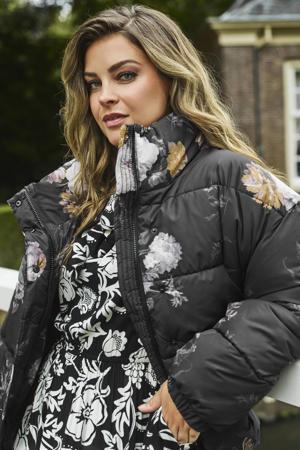 limited edition gewatteerde jas met bloemenprint geel