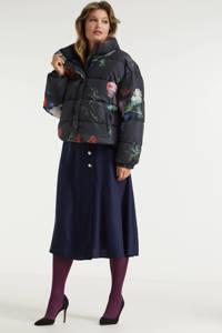 Miljuschka by Wehkamp limited edition gewatteerde jas met bloemenprint multi, Zwart/rood/blauw