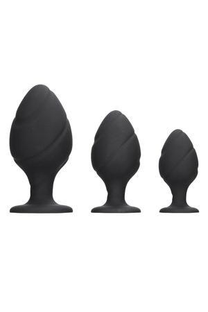 Siliconen Butt Plug Set Swirled - 3 maten - Zwart