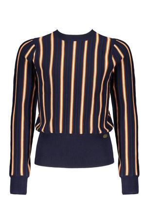 gestreepte trui Kamilia donkerblauw/oker/wit