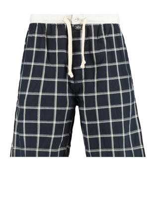 geruite pyjamashort Lake donkerblauw/wit