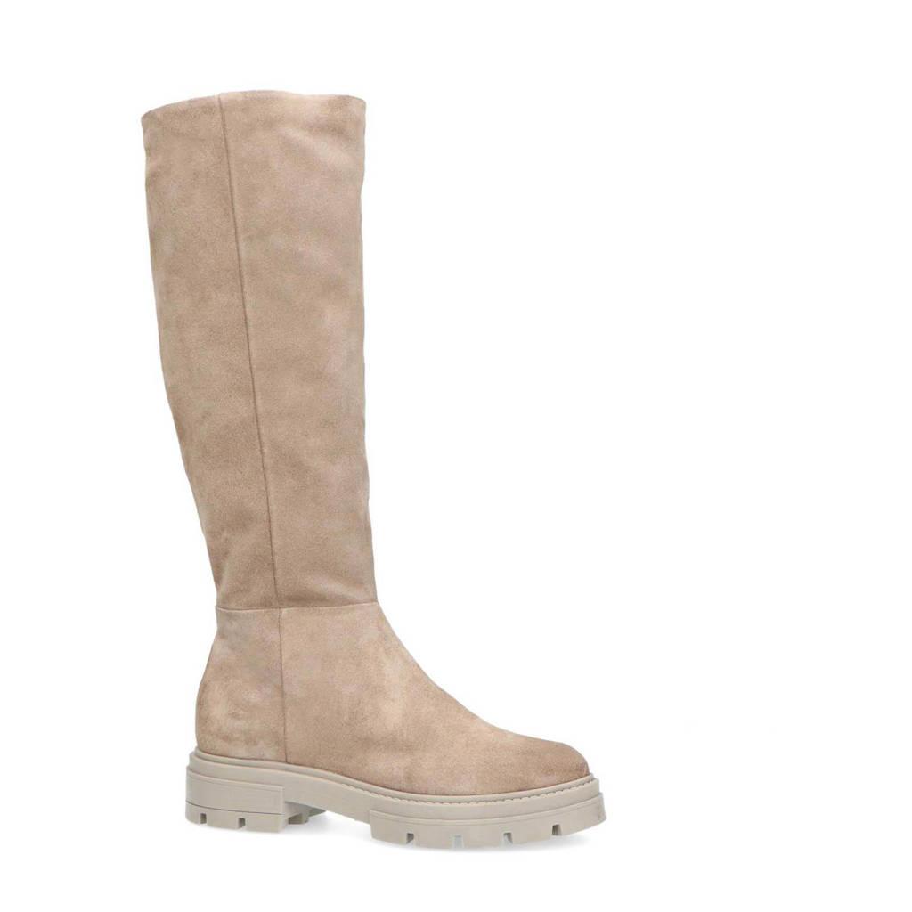 Manfield   hoge suède laarzen beige, Beige/taupe