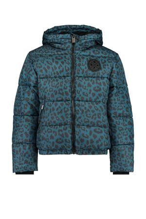 gewatteerde winterjas Jayla met all over print blauw/zwart