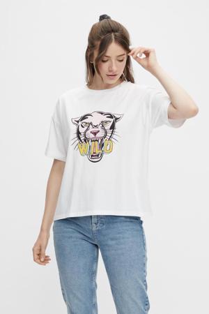 T-shirt PCPANTHER met biologisch katoen wit