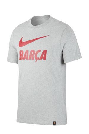 Senior FC Barcelona voetbalshirt grijs melange/rood
