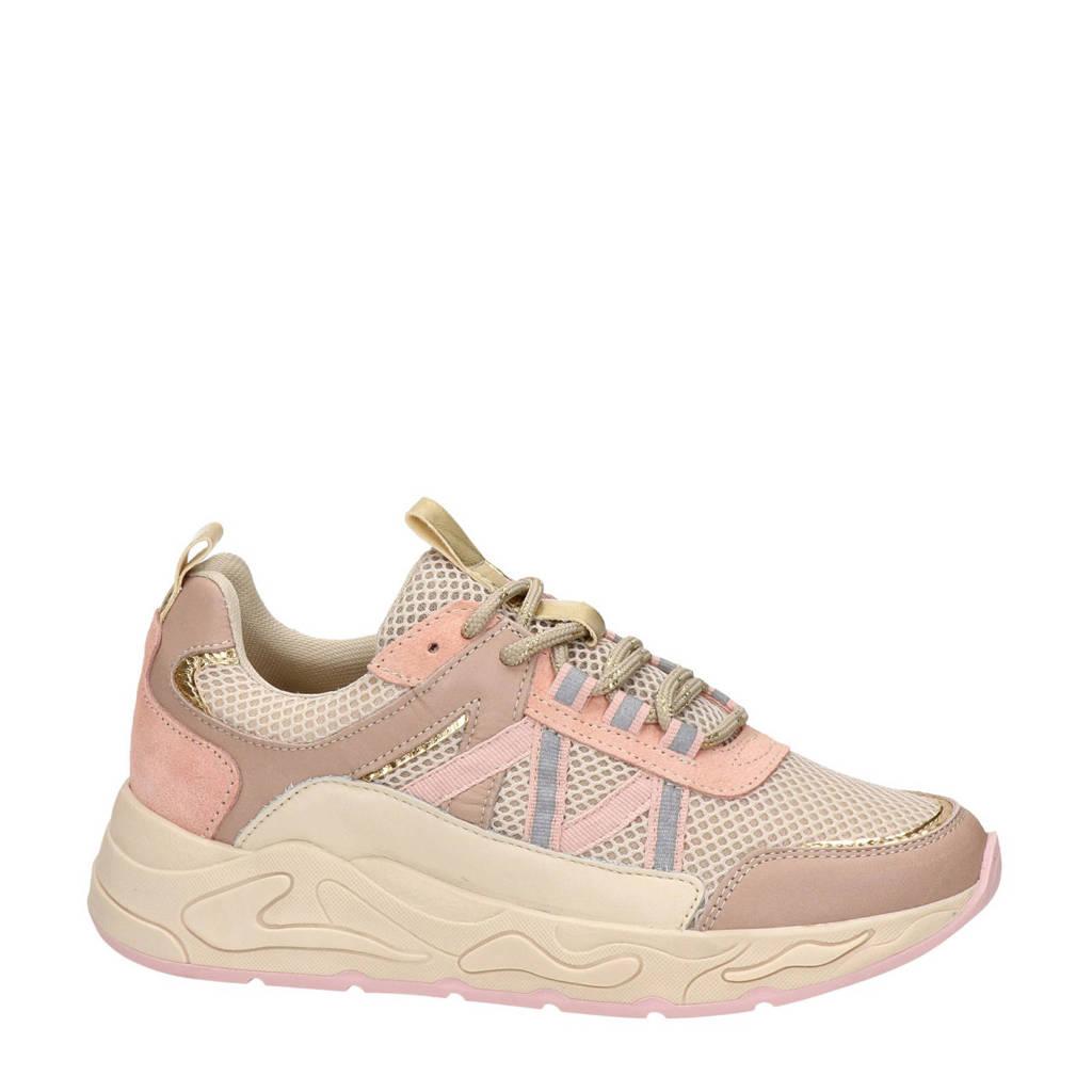 Nelson   leren dad sneakers beige/roze, Beige/roze