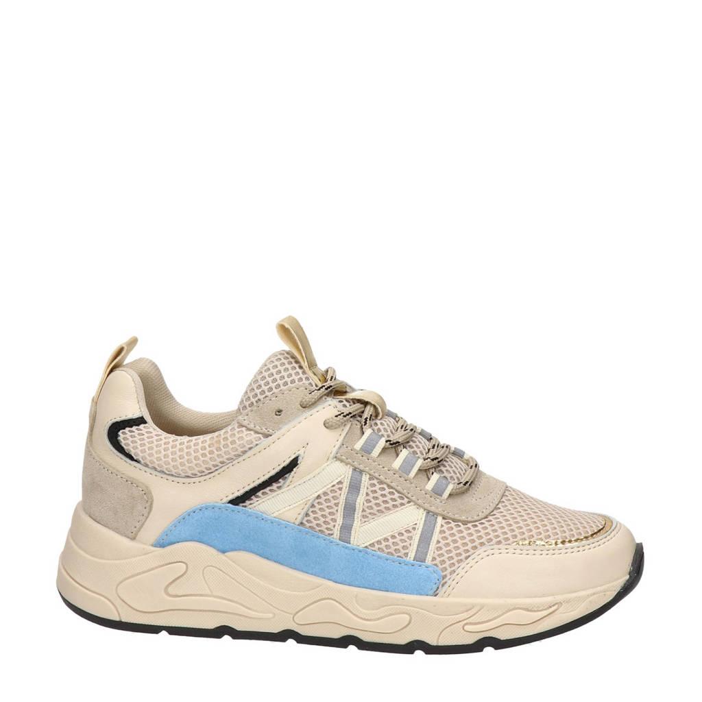 Nelson   leren dad sneakers beige/blauw, Beige/blauw