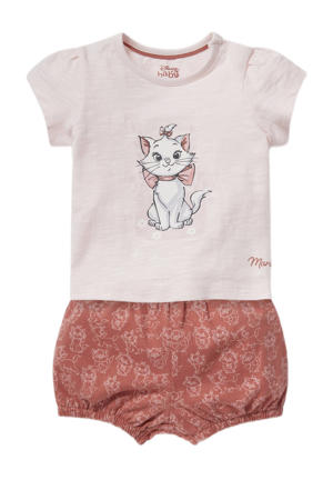T-shirt + korte broek lichtroze/bruin