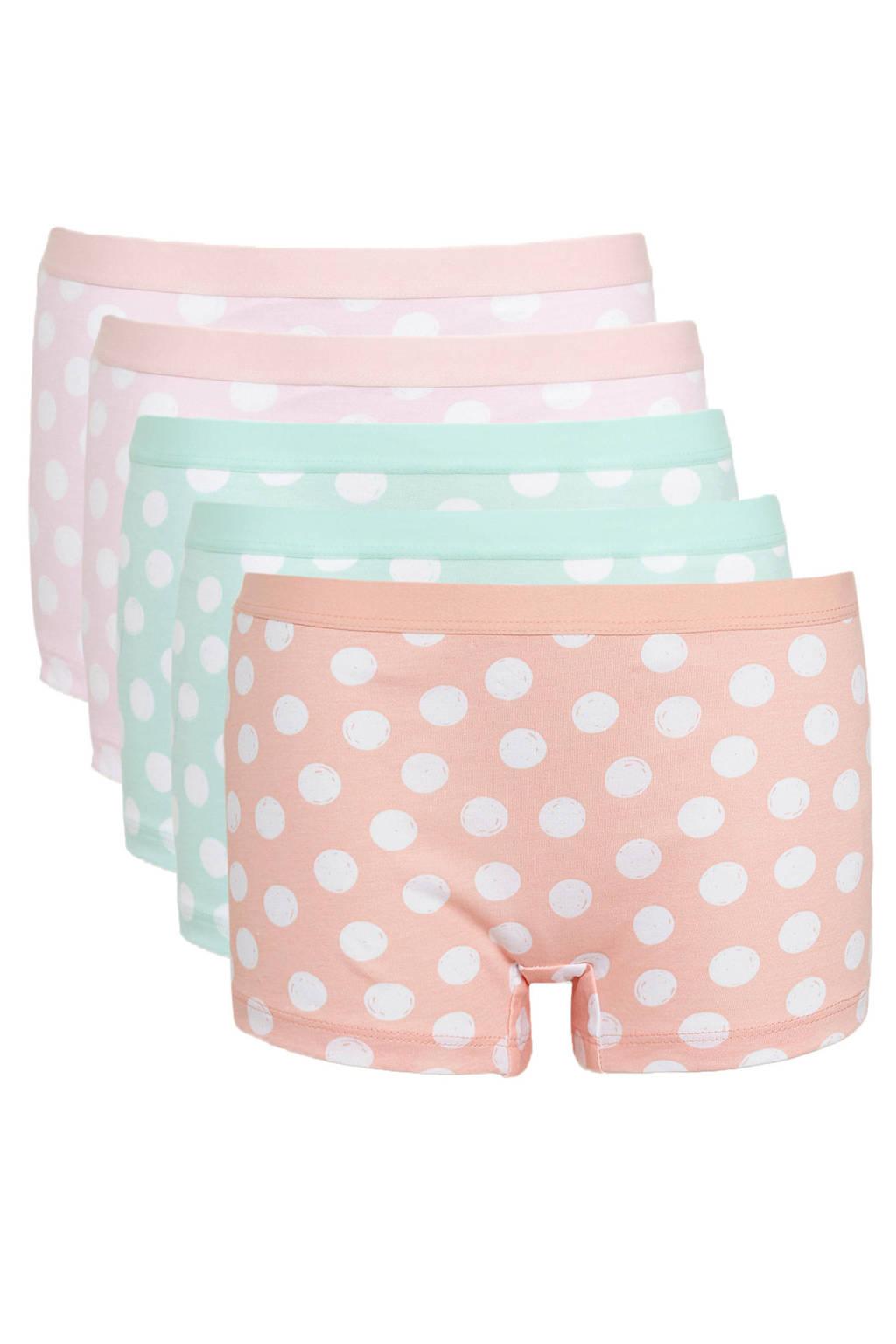 C&A Here & There short - set van 5 roze/groen/oranje, Roze/groen/oranje