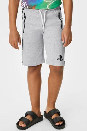 regular fit sweatshort grijs/zwart