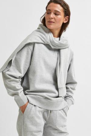 gemêleerde sweater SLFSTASIE van biologisch katoen grijs melange