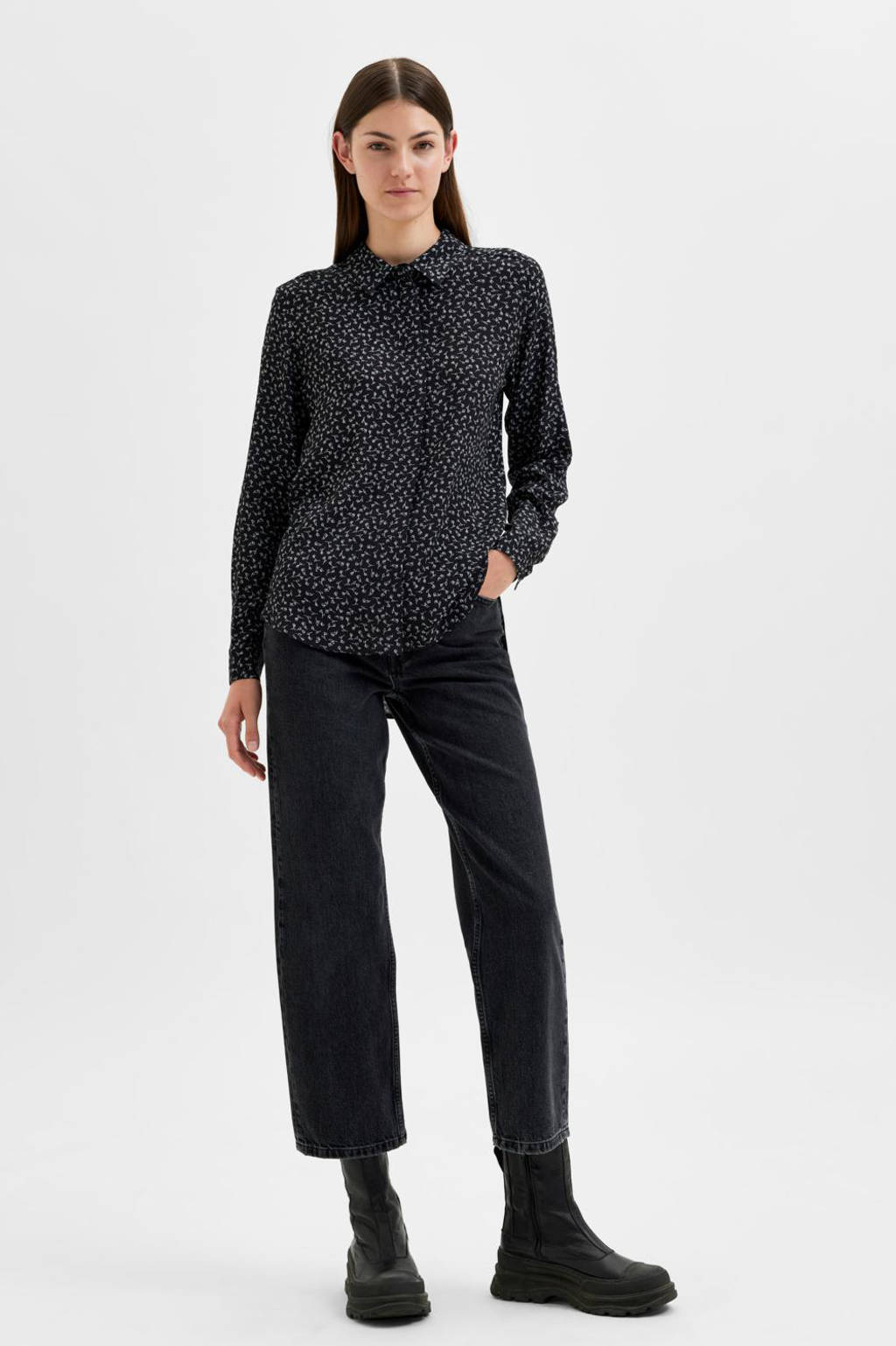 SELECTED FEMME blouse SLFELLA-ODETTE met all over print zwart, Zwart