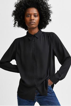 blouse SLFSIGNA van gerecycled polyester zwart