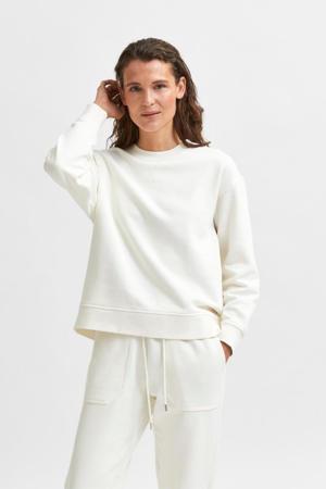 gemêleerde sweater SLFSTASIE van biologisch katoen ecru