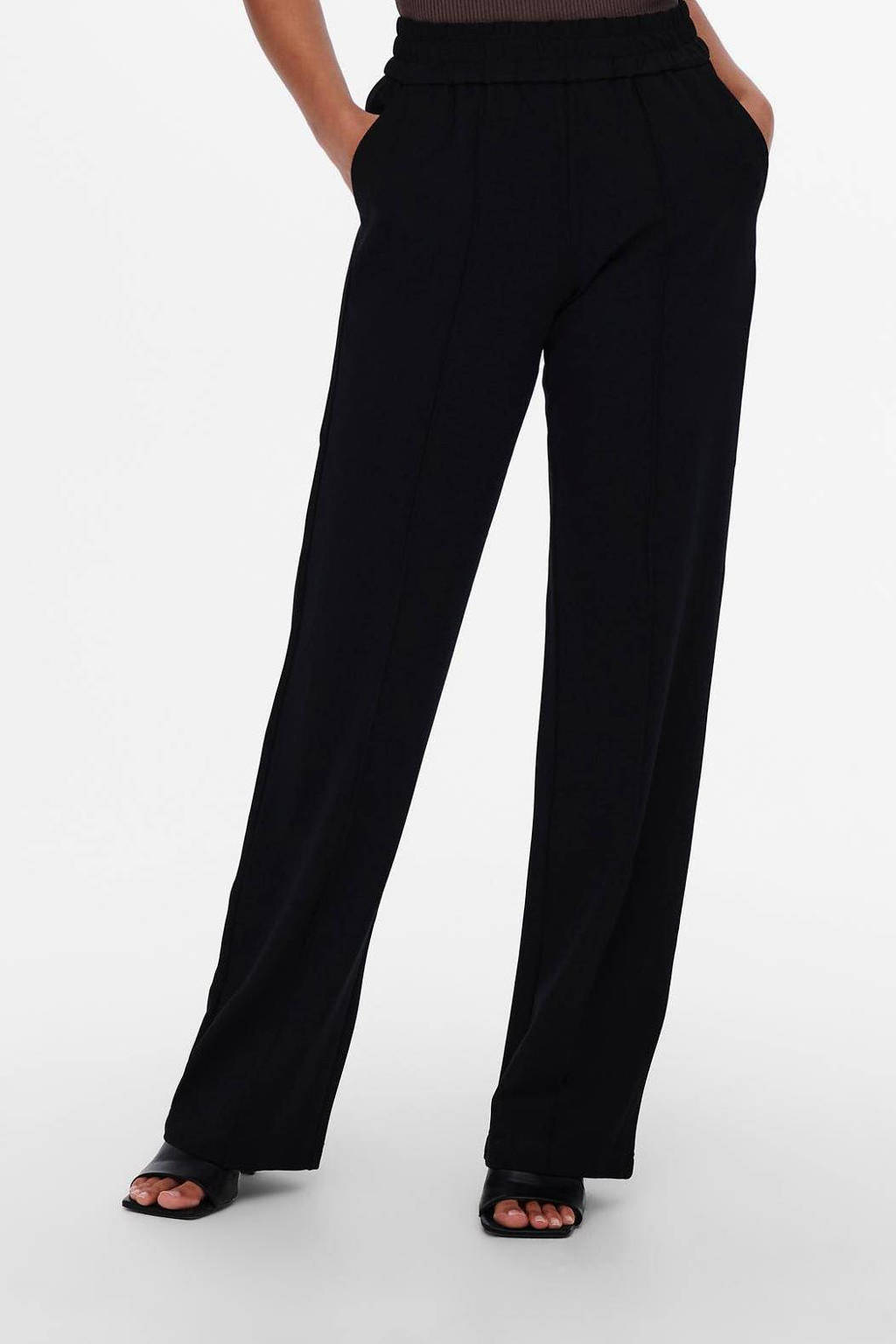 ONLY wide leg palazzo broek ONLPOPTRASH zwart, Zwart