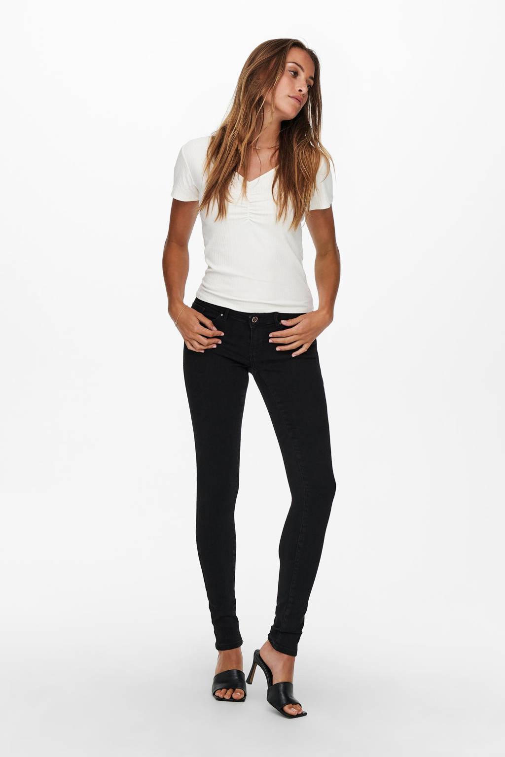 ONLY extra low waist skinny jeans ONLCORAL black denim, Black denim