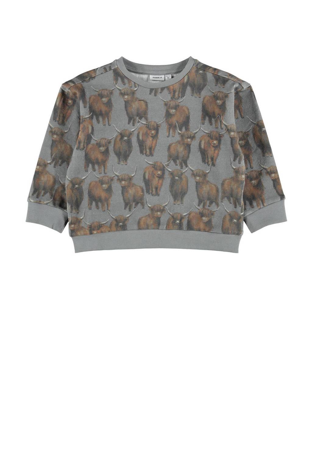 NAME IT MINI sweater NMMNIBU met dierenprint grijs, Grijs