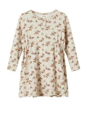 jurk NMFGAYA met all over print offwhite/lichtbruin