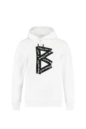 Hoodie met logo wit