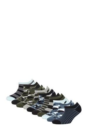 sneakersokken - set van 10 blauw/grijs