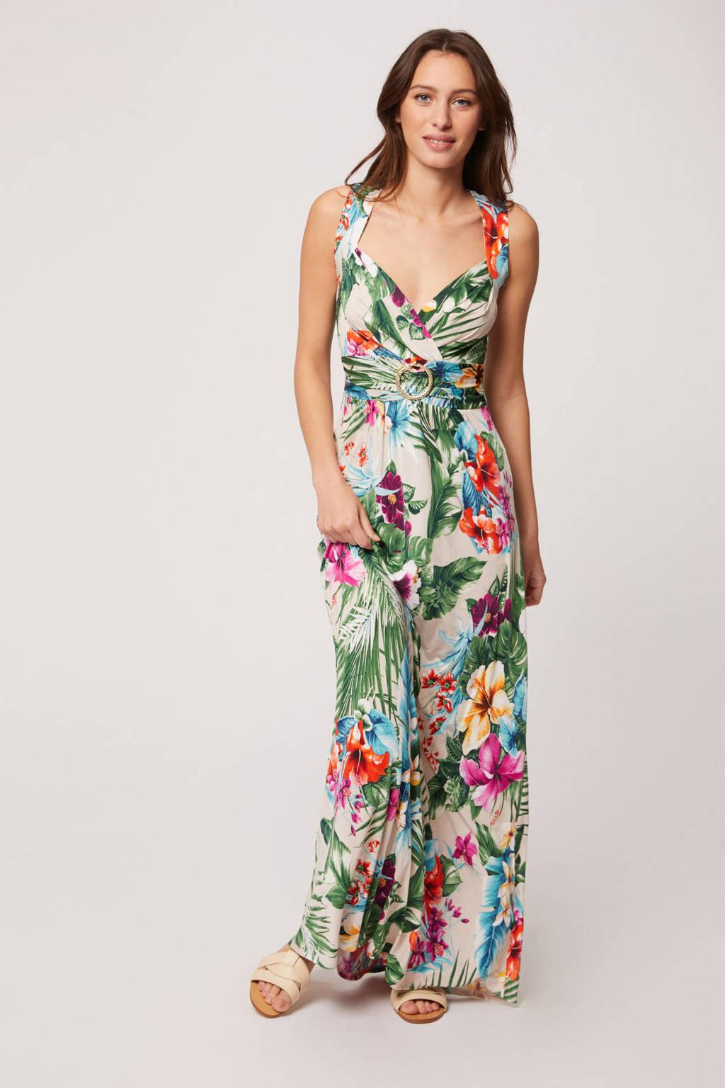 Morgan gebloemde maxi A-lijn jurk beige/groen, Beige/groen