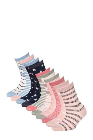 sokken - set van 10 blauw/roze
