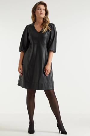 jurk imitatieleer zwart