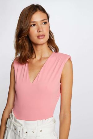 body met schoudervulling roze