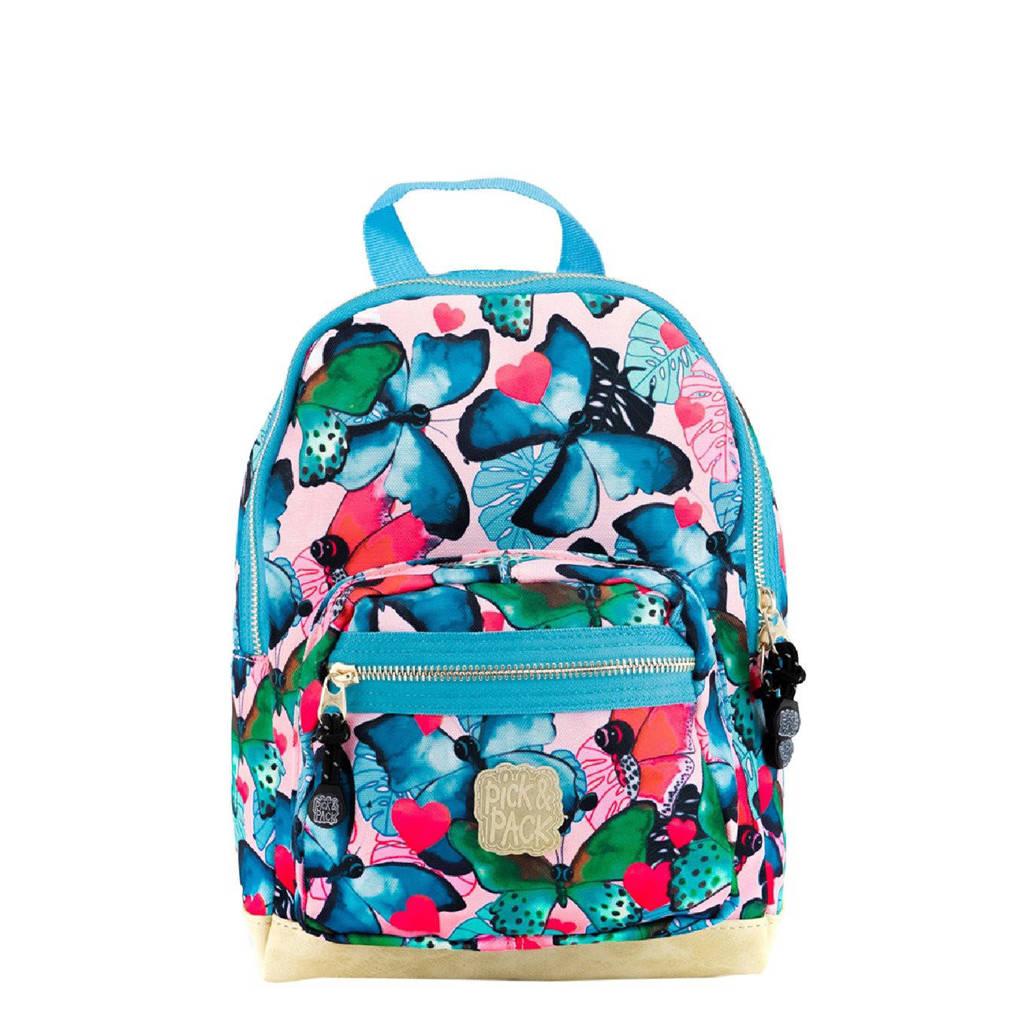Pick & Pack  rugzak Beautiful Butterfly S blauw, Blauw