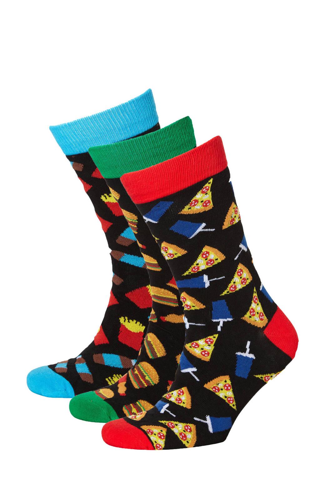 Apollo giftbox sokken - set van 3 zwart/multi, Zwart/multi
