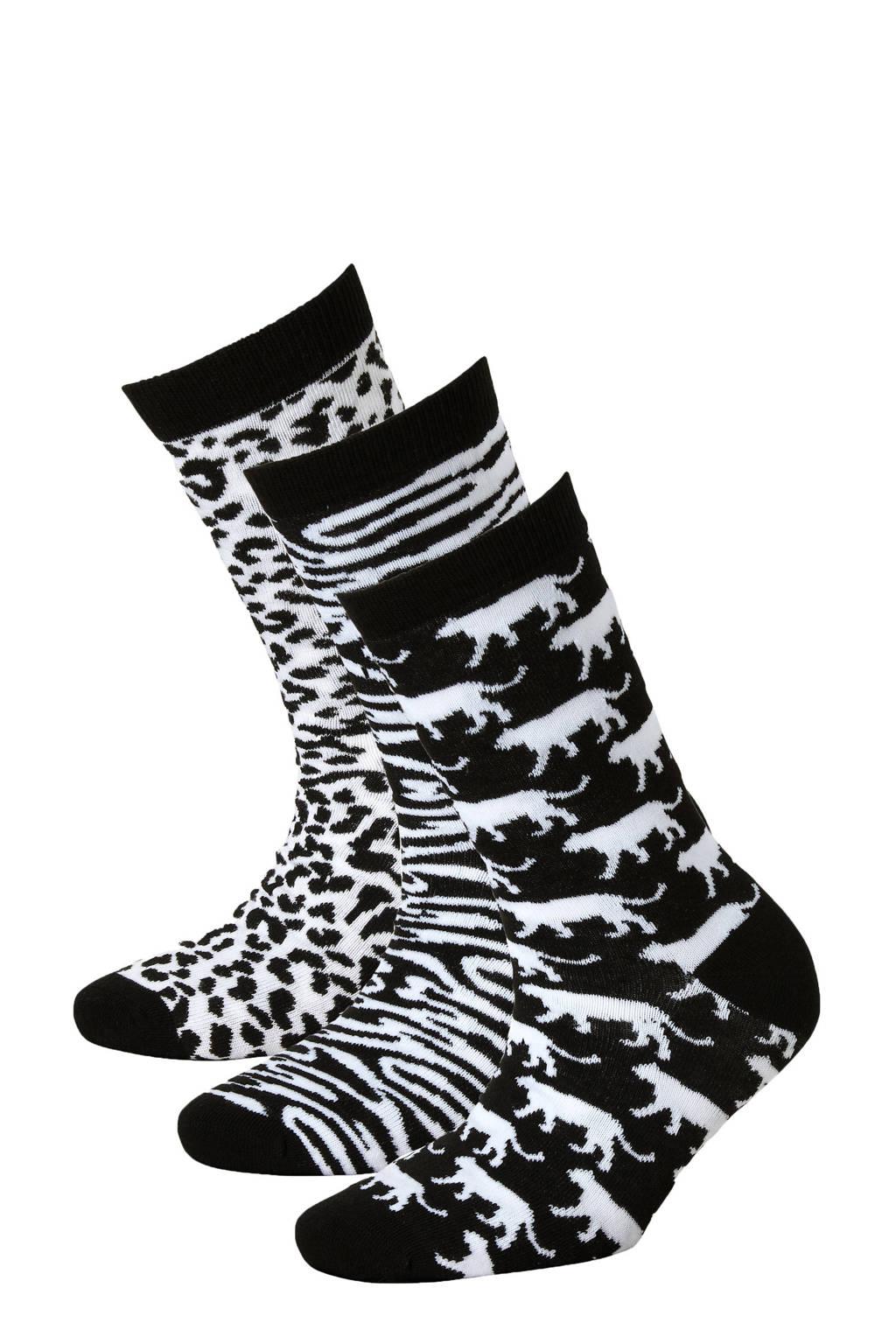 Apollo giftbox sokken - set van 3 zwart/wit, Zwart/wit