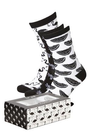 giftbox sokken - set van 3 zwart/wit