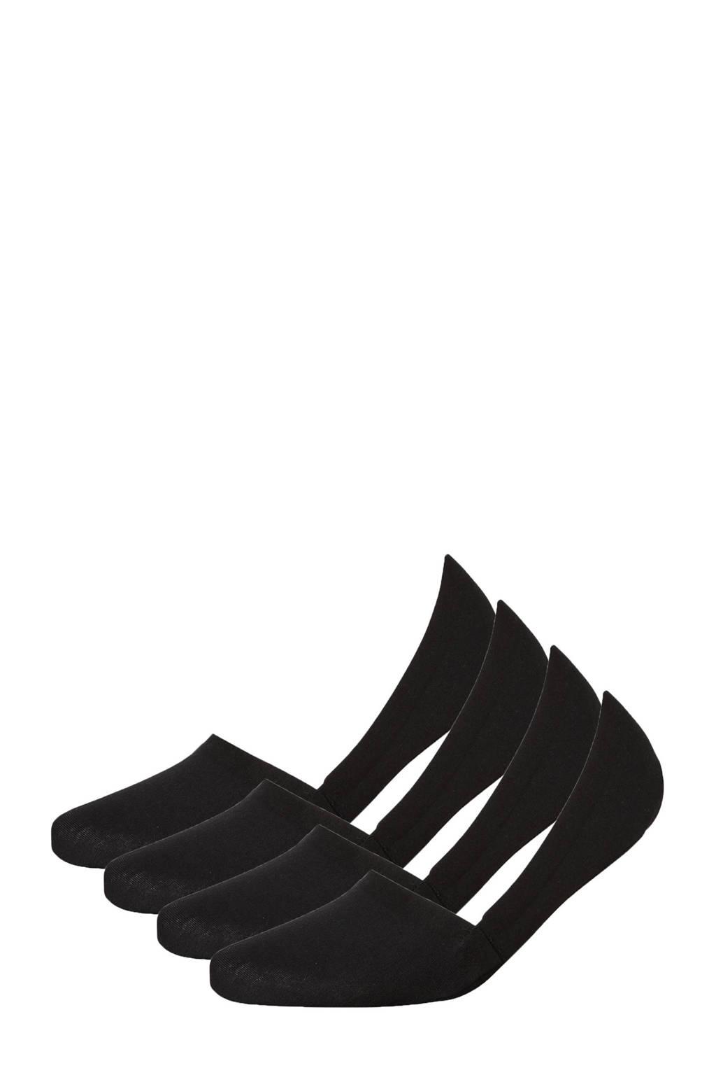 Sarlini no-show sneakersokken - set van 4 zwart, Zwart
