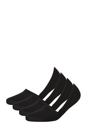 no-show sneakersokken - set van 4 zwart