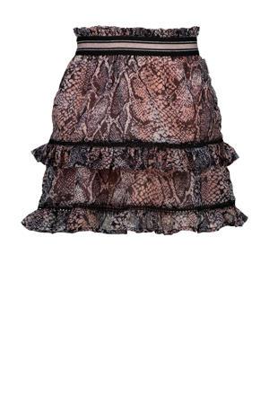 rok Qisanne met slangenprint en ruches roze/zwart