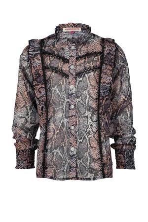 blouse Lirelle met slangenprint en contrastbies roze/zwart