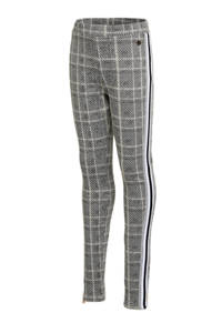 Vingino geruite loose fit broek Semaine met zijstreep grijs/wit, Grijs/wit