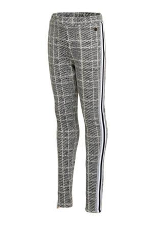 geruite loose fit broek Semaine met zijstreep grijs/wit