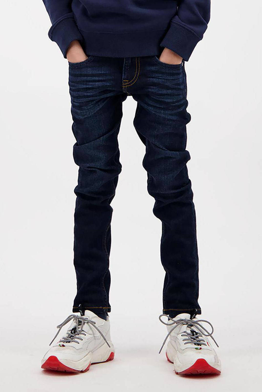 Vingino skinny jeans Anzio met slijtage deep dark, Deep dark
