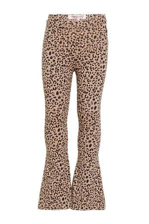 flared broek Sanja met panterprint zand/bruin