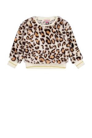 sweater Nyba met panterprint zand/bruin
