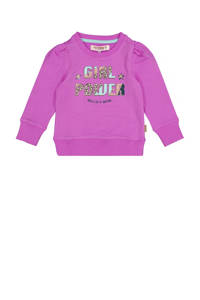 Vingino sweater Nena met printopdruk felroze, Felroze