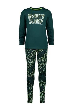 pyjama Wencke met all over print groen/lichtgroen