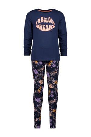 pyjama Wencke met all over print donkerblauw/zalm/lila