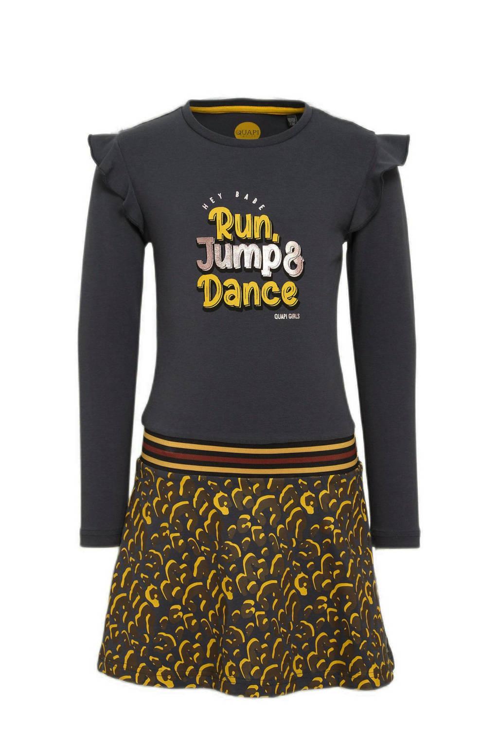Quapi jurk Wendy met panterprint en ruches antraciet/geel, Antraciet/geel