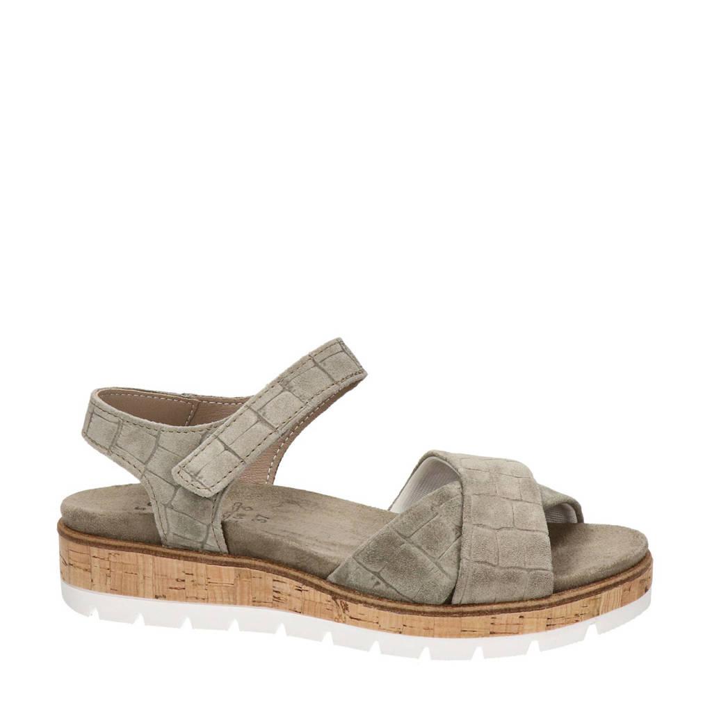 Nelson  comfort suède sandalen met crocoprint lichtkaki, Lichtkaki